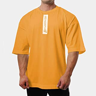 Fashion Fitness T-shirts For Men Tops Gym Cotton Soft Loose Half Short Sleeve Men's Clothing Oversize Sweat O-neck Bodybui...