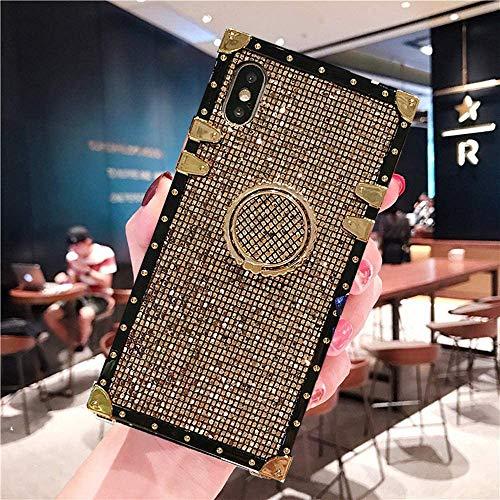 Babemall Schutzhülle für iPhone XR, XS, Max, 6, 6S, 7, 8 Plus, stilvoll, schöne Blu Ray Blume, Metalldekoration, eckig, schützend, kratzfest, Blumenmuster, for iPhone X/XS, gold