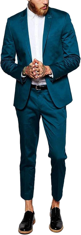 GATMSTZ Men's Stylish 2 Pieces Suit One Button Blazer Jacket Dress Pants