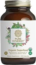 Pure Synergy USDA Organic Green Superfood (270 Capsules) 60+ Greens, Veggies, Herbs for Energy & Wellness