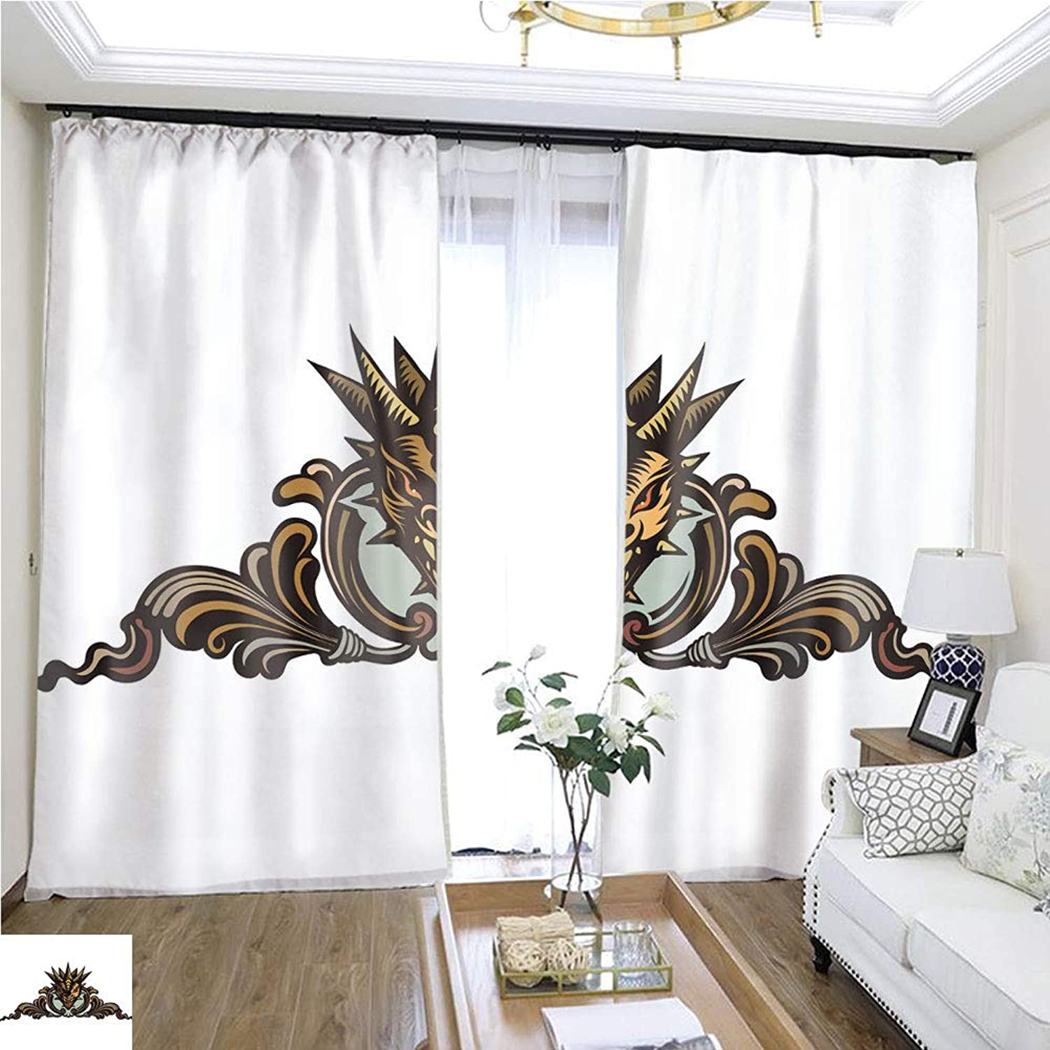 Air Port Screen Dragons Head Tattoo W96 x L96 Reduce Noise Highprecision Curtains for bedrooms Living Rooms Kitchens etc.