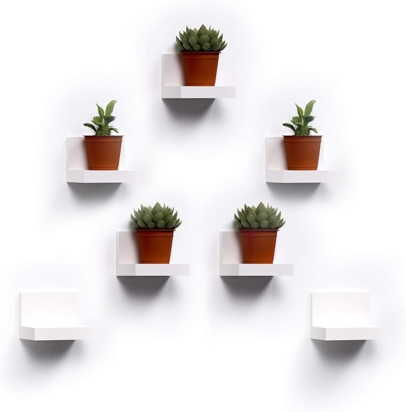 7-Pack Small Floating Shelves for Wall by RicherHouse, 4-inch Display Ledges for Small Decor, Small Wall Shelf with 2 Types of Installation - White