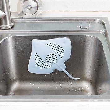 maiduoduo01 Stingray Fish Shape Floor Drain Stopper Cover with Four Suckers, Bathroom Kitchen Tools Bathtub Blue