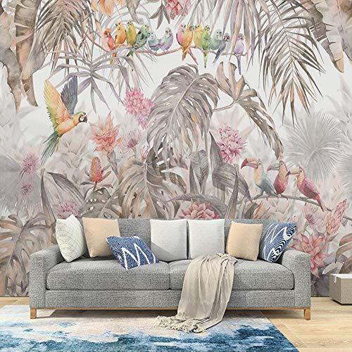 MILUSEN Tropical Plant Flower Colorful Bird Wallpaper Jungle Parrot Mural Living Room Wallpaper Seamless Wall Cloth Brown