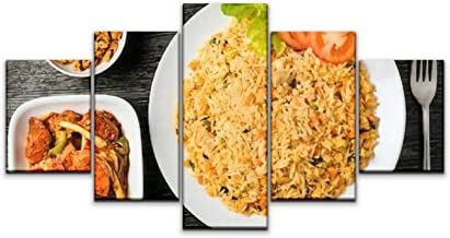5 Panels Wall Canvas Prints Pictures, Sri Lankan Fried Rice with Fish Curry and Cashew Nuts Wall Paintings Wall Decor Stretched and Framed Ready to Hang