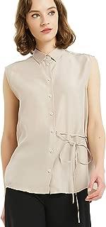 NEW DANCE Women's 100% Silk Blouse Sleeveless Button Down Shirts Ladies Office Work Shirts 15 Momme Silk