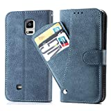 Asuwish Galaxy Note 4 Wallet Case,Leather Phone Cases with Credit Card Holder Slim Kickstand Stand Flip Folio Protective Cover for Samsung Galaxy Note 4 Note4 Women Girls Men Blue