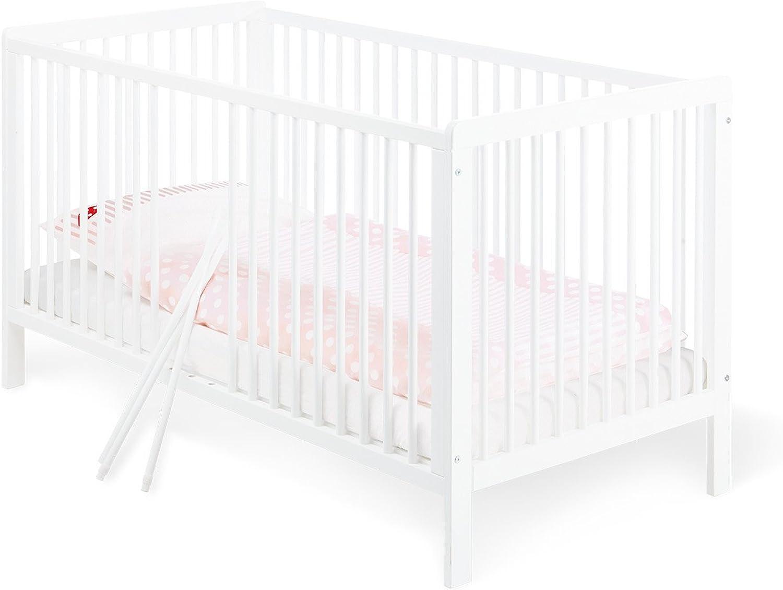 Pinolino - 11 14 75 - Kinderbett Lenny 140 x 70 cm - mit 3 Schlupfsprossen aus vollmassiver Kiefer, wei lackiert