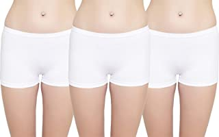 LEADING LADY Women's Plain/Solid Boy Shorts (Pack of 3) (527_White_XL)