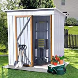 5ft x 3ft Outdoor Metal Storage Shed,Sun Protection, Waterproof Tool Storage Shed for Backyard, Patio, Lawn (White)