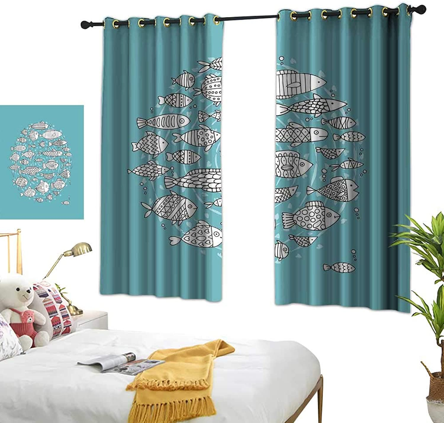 LsWOW Bedroom Curtains W55 x L45 Doodle,Baby Fish Community Swimming in The Ocean Kids Nursery Playroom Cartoon,Pale bluee and White BedroomRoom Darkening,Blackout Curtains Room Kid's Room
