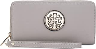 Emblem Wristlet Wallet Purses with Cellphone Holder Women RFID Blocking Zip Around Clutch