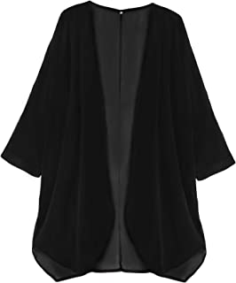 06e0a4b2cb Finoceans Womens Floral Chiffon Kimono Cardigans Loose Beach Cover Up Half  Sleeve Tops