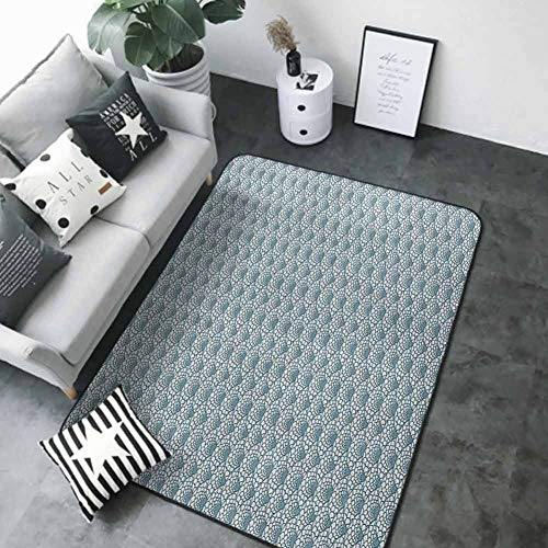 """Soft Area Rug for Children Baby Scale,Hand Drawn Fish Skin Pattern Geometric Half Circles Antique Vintage Inspirations, Teal White 60""""x 72"""" Best Floor mats"""