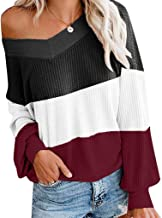 Xinantime Womens Waffle Off Shoulder Sweater V-Neck Colorblock Long Sleeve Loose Top Blouse
