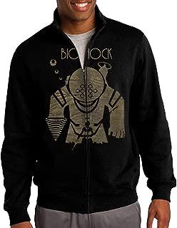 HEHE Men's Zip-up Jacket Hooded Hood Bio Shock First-person Shooter Video Game Black