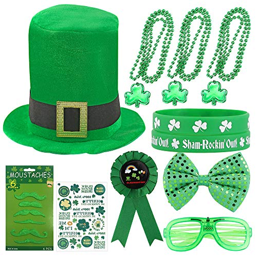 Ankuka St. Patricks Day Party Favor with Green Hat, Mustaches, Tattoo Sticker, Lucky Bracelet, Glowing Eyeglass, Shamrock Necklace, Medal and bow tie for St. Patrick Irish Party Supplies