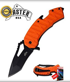 SPRING ASSISTED Folding Sharp KNIFE 3'' Orange Tanto Blade EDC Bottle Open Glass Breaker Combat Tactical Knife + eBOOK by Moon Knives