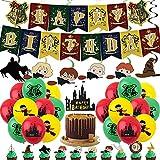 BESTZY Birthday Theme Party Supplies Kit Dekorationen Geburtstag Partyzubehör Happy Birthday Banner Cake Topper Luftballons Spirale Ornamente 48 Stück