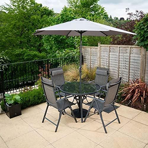 HECTARE Kennet Reclining Garden Outdoor Polytex Dining Set (4 Seater, Grey)