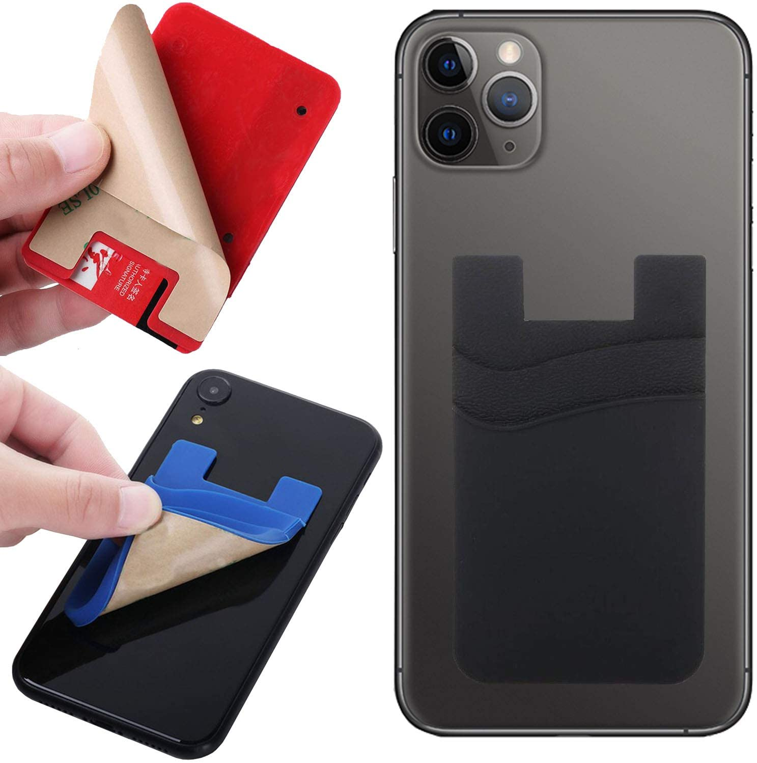 Card Holder for Back of Phone, Silicone Wallet Stick-on ID Credit Card Pockets for Smartphones