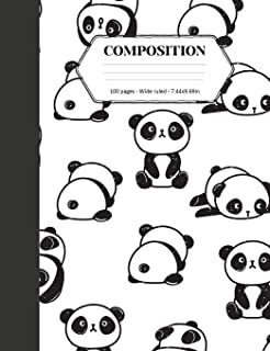 Composition: Book - Wide Ruled - Cute Notebook with Panda Pattern - Journal for Students / Teachers - 7.44 x 9.69 (Back to School Notebooks) (Volume 33)