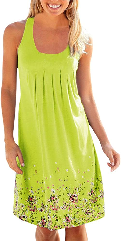 Womens Summer Limited time trial price Dress Casual Sleeveless Plain Max 84% OFF Floral Printed Mini