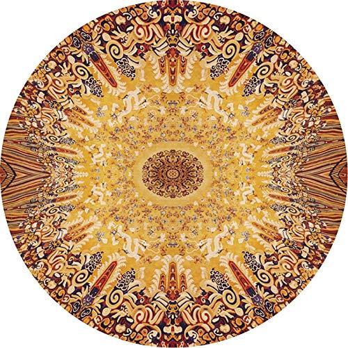 Emoshayoga Tapis de Chaise Ronde de Style Ethnique Tapis Lavable Tapis de Sol antidérapant avec matériau en Flanelle pour la décoration de l