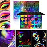 Glow in the Dark Eyeshadow Palette, BONNIESTORE Neon Luminous Glitter 24 Colors Highly Pigmented UV Glow Blacklight Fluorescent Matte Glitter Eye Shadow Shade for Festivals/Party/Halloween/Christmas