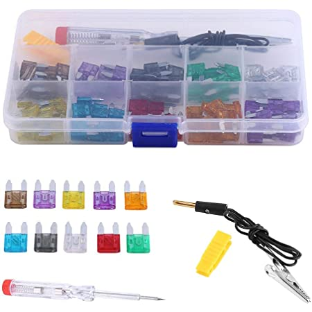 Keenso 100 Stk Kfz Mini Blade Auto Lkw Kfz Sicherung Set Standard Assorted Ersatzsicherungen Set Mit Elektrische Test Stift Auto