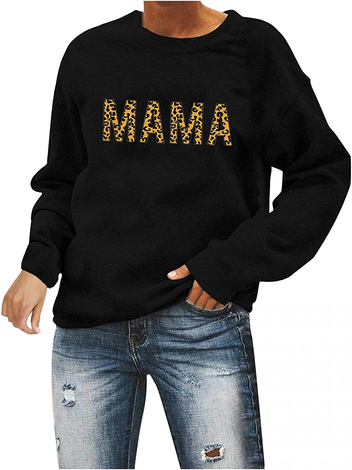 Ranking High material TOP17 Qisemi Sweatshirt for Women Womens Mama Printed Pullover Letter