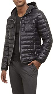Kenneth Cole New York Mens Double Chest Pocket Puffer with Hood Jacket