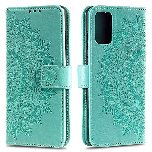 HTDELEC für Samsung Galaxy A52 Hülle,Ultra Slim Flip Hülle Grün Etui mit Kartensteckplatz & Magnetverschluss Leder Wallet Klapphülle Book Hülle Bumper Tasche für Samsung Galaxy A52 (T-Grün)