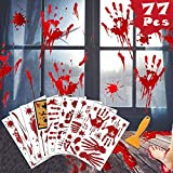 Bloody Handprint Footprint Halloween Decorations, 77 PCS Halloween Window Clings, 8 Sheets Bloody Creepy Wall Decals Floor Clings, Spooky Floor Window Stickers for Halloween Party Decorations