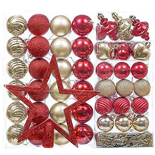 Valery Madelyn 60Pcs Bolas de Navidad Set, Adornos de Navidad para Arbol, Decoración de Bolas Navideños Rojo Oro, Regalos de Colgantes de Navidad