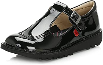 kickers kick t bar shoes black patent