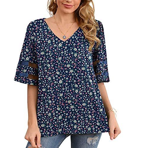 sunnymi Camisetas para mujer, cuello en V, estampado de malla, blusa, blusa, manga holgada azul M