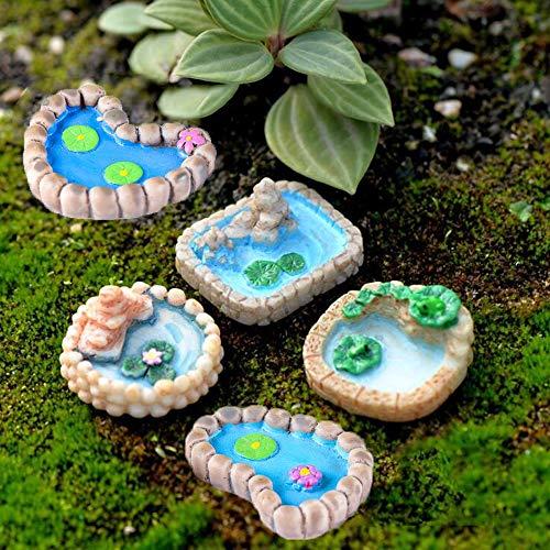 Trasfit 5-teiliges Miniatur-Teich-Ornament-Set für Miniatur-Gartenzubehör, Heimdekoration