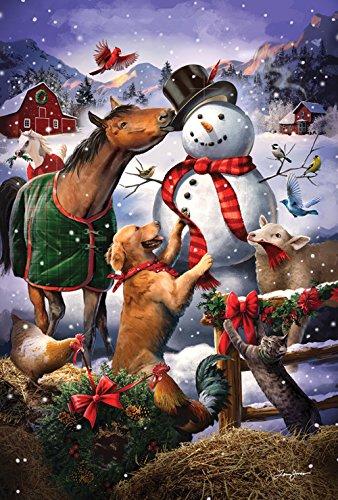 Toland Home Garden Farmyard Snowman 12.5 x 18 Inch Decorative Winter Farm Horse Dog Garden Flag