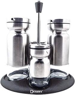 Olive Oil Dispenser and Vinegar Bottle Set of 2 Bottles, 2 set shaker, Premium Salt & Pepper Shakers Organizer with Elegan...