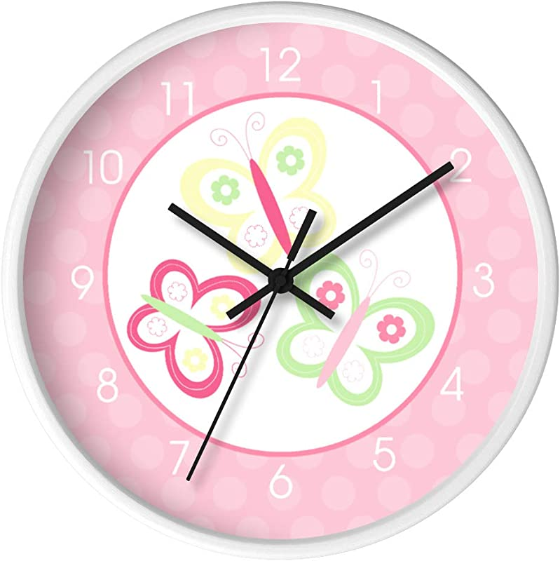 Butterfly Garden Pink Green Yellow Girls Nursery Wall Clock