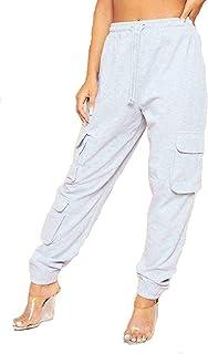 Rimi Hanger Womens 3 Pocket Fleece Cargo Joggers Ladies Sportswear Oversized Cuffed Bottoms
