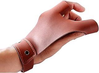 Tiro con Arco Protectores para los Dedos 3 Dedos Pistola de Cuero Tiro con Arco Protector de Mano Guante de Tiro para Caza Tiro con Arco Tiro con Arco