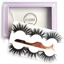 JIMIRE 3D Mink Strip Lashes Full Volume Eyelashes Ultra Fluffy 20mm Mink False Lashes with Eyelash Tweezers 3 Styles