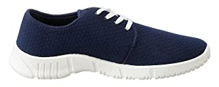 Salerno Textile Side-Logo Round-Toe Lace-up Sneakers for Men