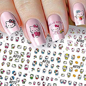 12 Sheets hello kitty nail stickers Cat Nail Art Decorations Stickers for Kids Cat Dog Rabbit Nail Stickers 3D Self-Adhesive Summer Nail Decals Wraps for Little Girls Kids Women