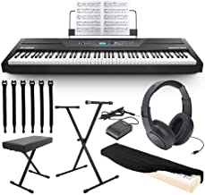 Alesis Recital Pro 88-Key Digital Piano with Hammer-Action Keys + On Stage Keyboard Dust Cover + Keyboard Stand/bench and Pedal + Strapeez + Stereo Headphones TOP VALUE ALESIS BUNDLE!