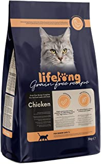 Marca Amazon Lifelong Alimento seco para gatos sénior con pllo fresco, receta sin cereales - 3kg