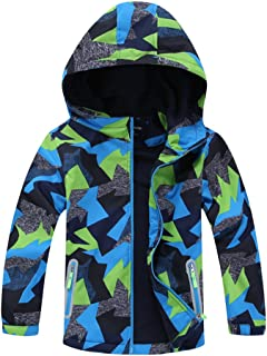 LOKTARC Boys Outdoor Windbreaker Fleece Lined Light Windproof Jackets with Hood