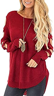 Benficial Women's Sexy Knitted Round Neck Long Sleeve Hollow Loose Sweater Pullover Jumper